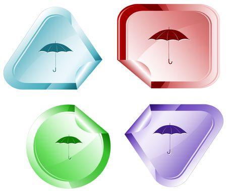 declinate: Umbrella.  sticker. Illustration