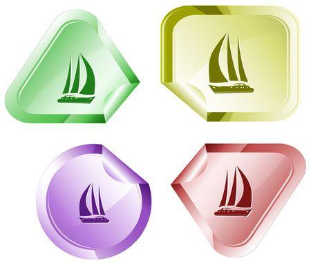 Yacht. sticker. Vector
