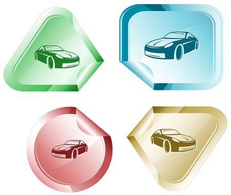 declinate: Car.  sticker. Illustration