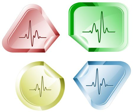 Cardiogram.  sticker. Stock Vector - 6779748