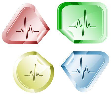 hamose: Cardiogram.  sticker. Illustration
