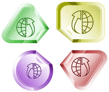 declinate: Globe and array up. sticker.