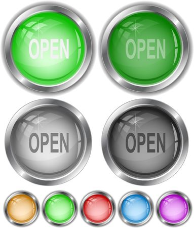 unrestricted: Open. Vector internet buttons. Illustration