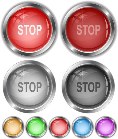 Stop. Vector internet buttons. Stock Vector - 6846442