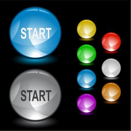 Start. Vector interface element. Stock Vector - 6846397