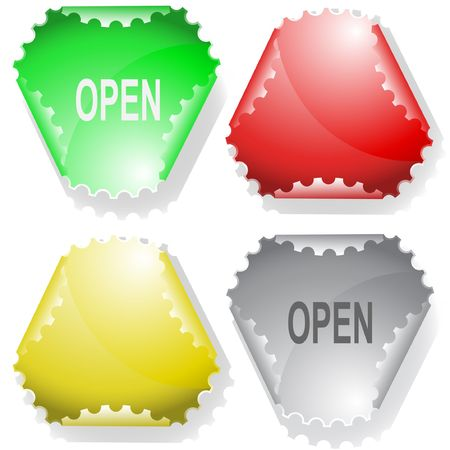 unrestricted: Open. Vector sticker.