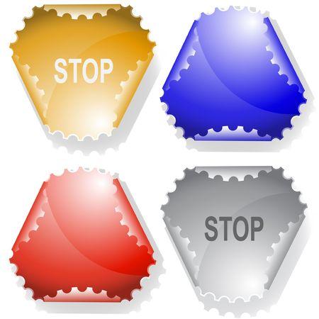 declinate: Stop. sticker. Illustration