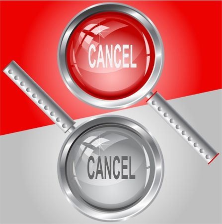 Cancel. Vector magnifying glass. Ilustração