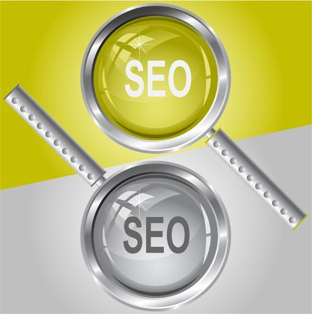 Seo. magnifying glass. Vector