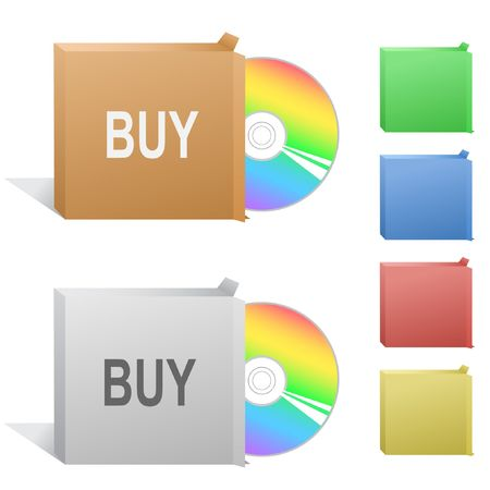 Buy. Box with compact disc. Stock Vector - 6846254