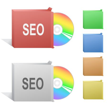 Seo. Box with compact disc. Vector
