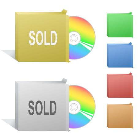 Sold. Box with compact disc. Stock Vector - 6846253