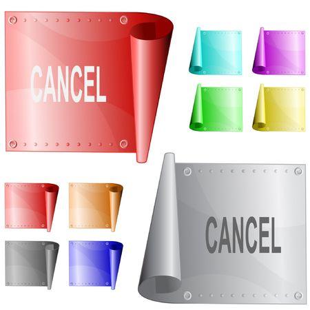 Cancel. metal surface. Ilustração