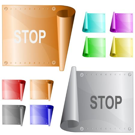 Stop. metal surface. Stock Vector - 6846430