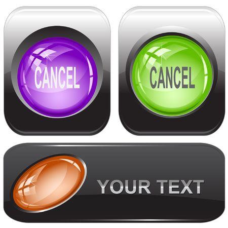 Cancel. internet buttons. Vector