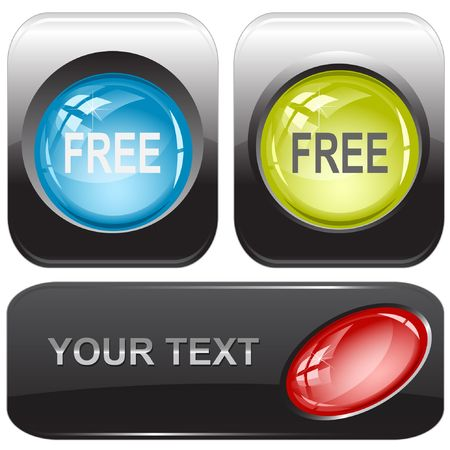 Free. Vector internet buttons. Vector