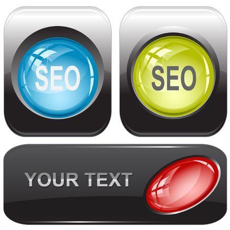 Seo. Vector internet buttons. Stock Vector - 6846371