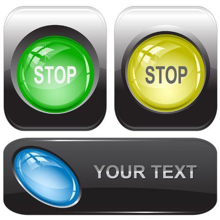 Stop. Vector internet buttons. Vector