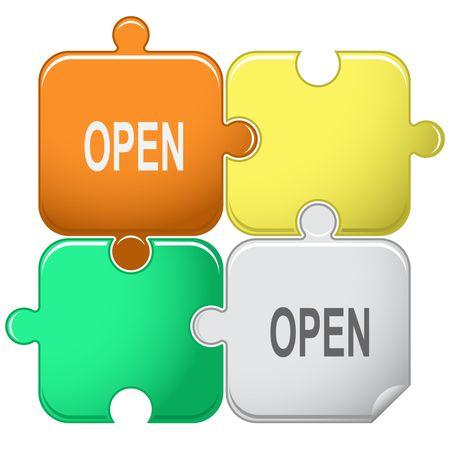 Open. Vector puzzle. Vector