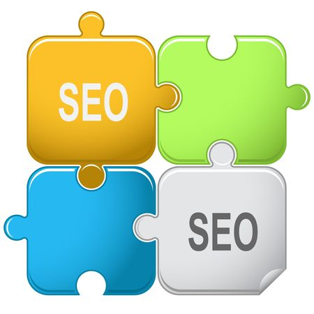 joining services: Seo. Vector puzzle.
