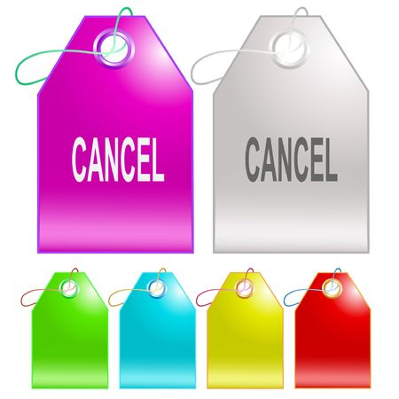 undoing: Cancel. Vector tags. Illustration