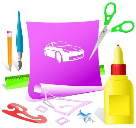 Car. Vector paper template. Stock Vector - 6846481