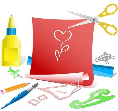 Flower-heart. Vector paper template. Vector