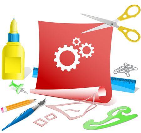 pva: Gears. Vector paper template. Illustration