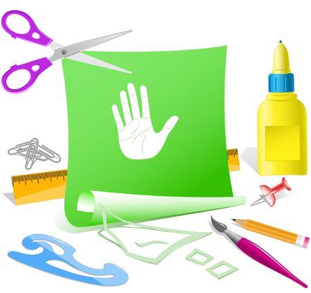 Stop hand. paper template. Stock Vector - 6846690