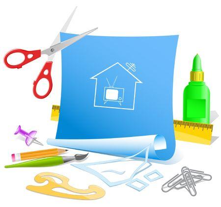 pva: Home TV. Vector paper template. Illustration