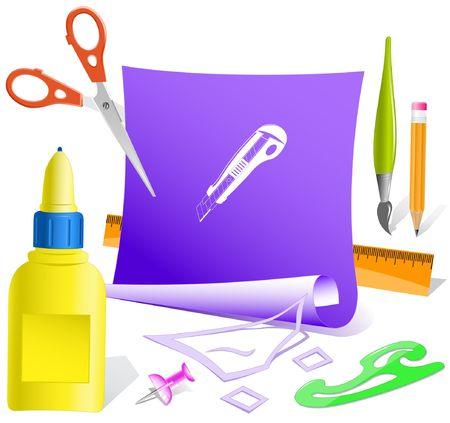 pva: Knife. paper template. Illustration