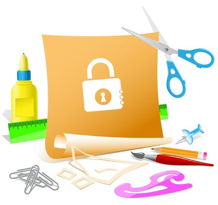 closed lock: Closed lock. Vector paper template.