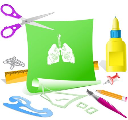 inhaling: Lungs. Vector paper template.