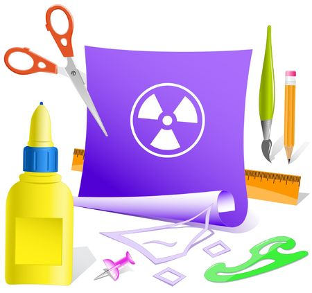 pva: Radiation symbol. Vector paper template.