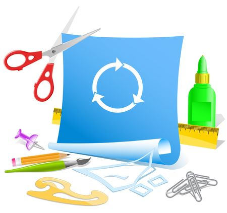 application recycle: Recycle symbol. Vector paper template.