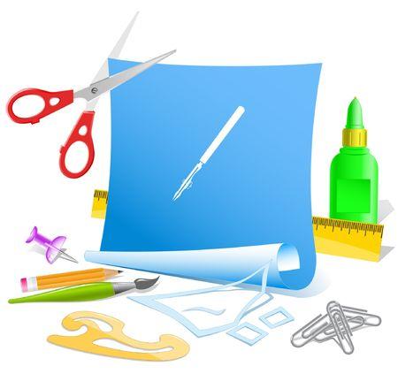 ruling: Ruling pen. Vector paper template.