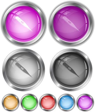 Thermometer. Shows 40 degrees Celsius. Vector internet buttons. Stock Vector - 6846924