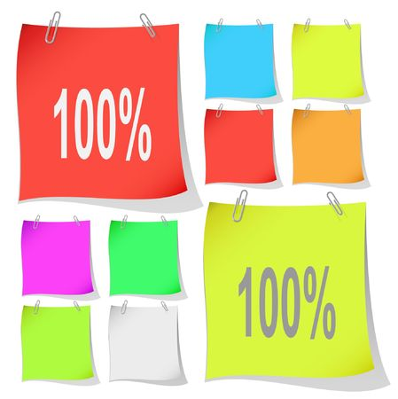 100%. note papers. Stock Vector - 6846850