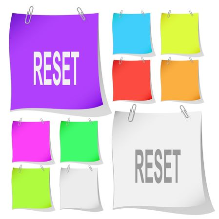 Reset. Vector note papers. Ilustração