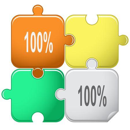 100%. Vector puzzle. Stock Vector - 6846711