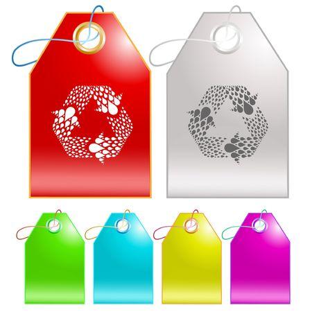 recycle symbol vector: Recycle symbol. Vector tags. Illustration