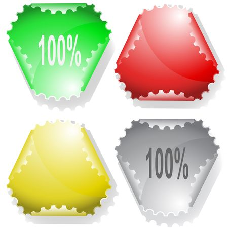 hamous: 100%. Vector sticker. Illustration