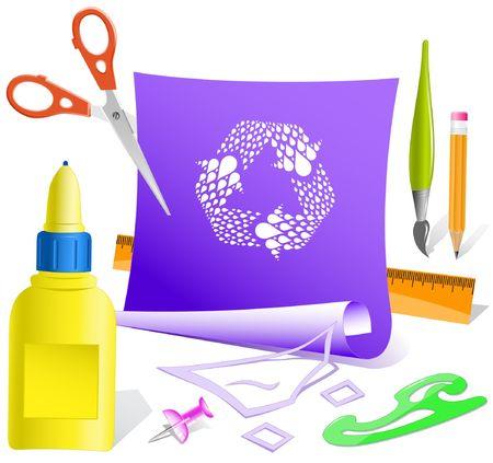 recycle symbol vector: Recycle symbol. Vector paper template.