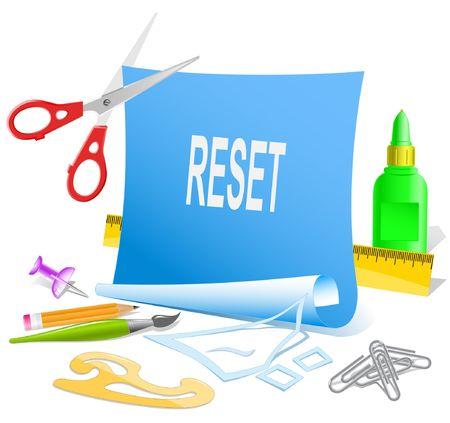 disabling: Reset. Vector paper template.