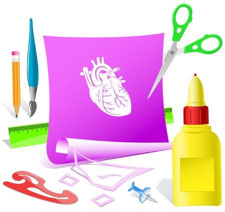Heart. Vector paper template. Stock Vector - 6846873