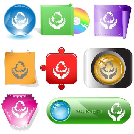 Protection nature. Vector internet buttons. Stock Vector - 6846891