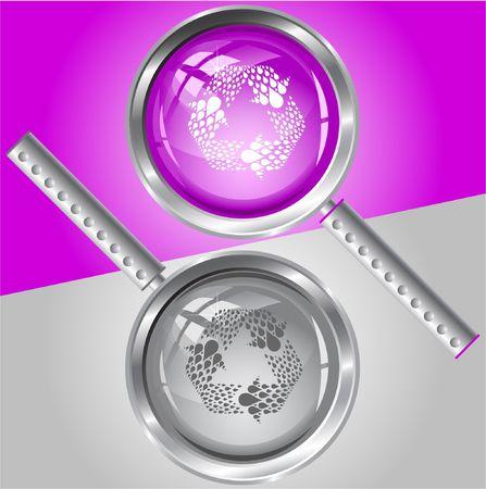 recycle symbol vector: Recycle symbol. Vector magnifying glass.