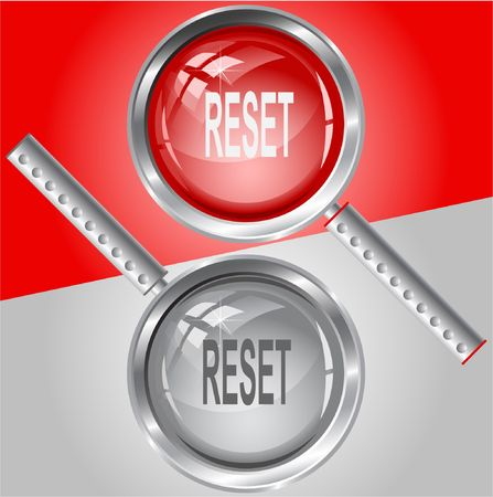 disabling: Reset. Vector magnifying glass.