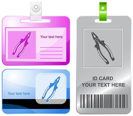 pinchers: Combination pliers. id cards. Illustration