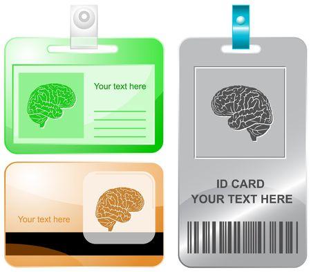 Brain.  id cards. Stock Vector - 6861803